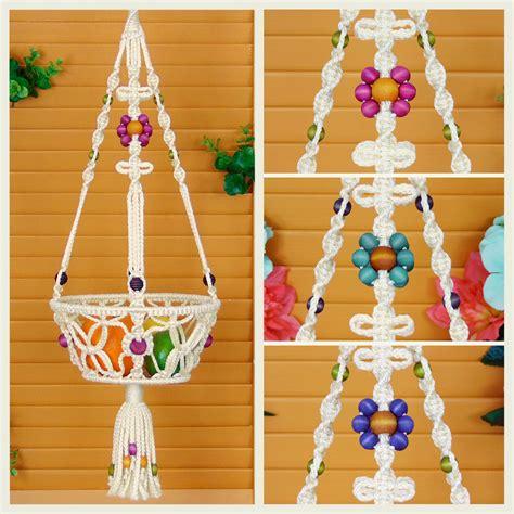 Macrame Hanging Basket - macrame hanging basket 8 fruit bowl vegetable holder