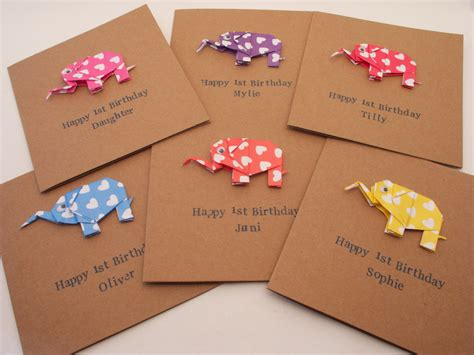 Birthday Origami Card - new baby happy birthday origami elephant card baby boy or