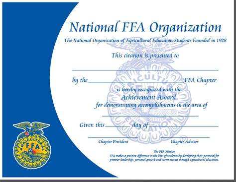 ffa certificate template 17 best images about special