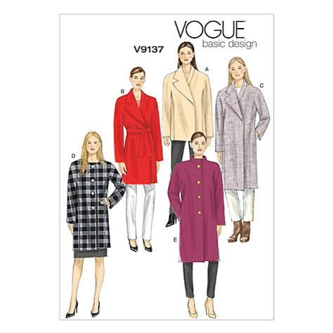 Buy Vogue Women's Basic Design Coat Sewing Pattern, 9137