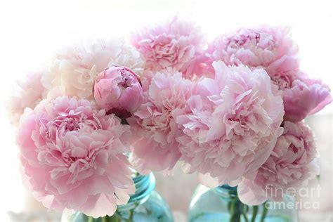 pink peonies blog shabby chic romantic pink peonies in aqua mason jars