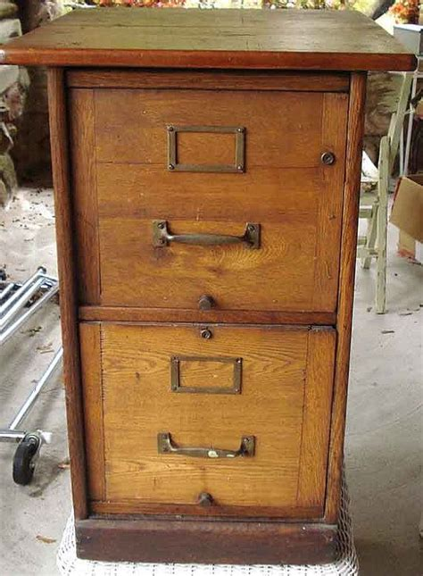 antique wooden 2 drawer file cabinet with table top