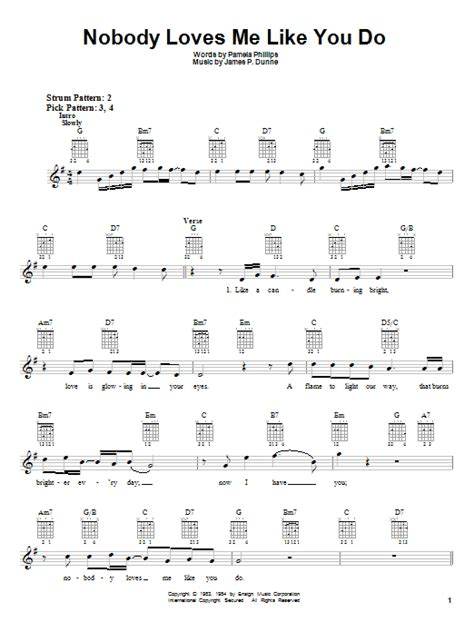 strumming pattern hear you me nobody loves me like you do sheet music by anne murray