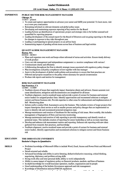 Credit Risk Manager Resume Sle by Luxury Enterprise Risk Management Resume Ideas Universal
