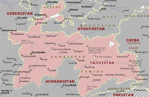 tajikistan map map of dushanbe city