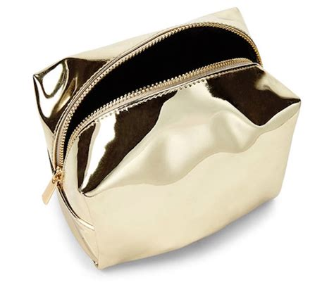 Lalang Cosmetic Makeup Bag Gold gold metallic makeup bag saubhaya makeup