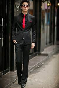 Black slim fit suit with red tie i will be rocking this real soon