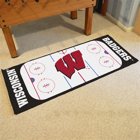 hockey rink rug wisconsin badgers hockey rink runner mat x 29 5 x 72