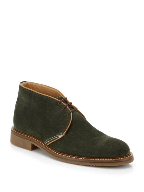 saks fifth avenue suede chukka boots in green for lyst
