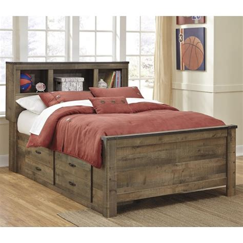 signature design  ashley trinell rustic  full bookcase bed   bed storage