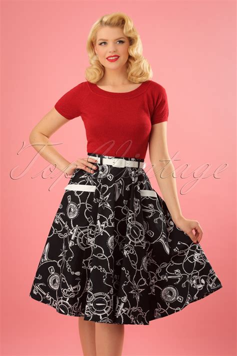 Skirt The Typical Day Swing The Usual Days Pv 0117015 50s mistral swing skirt in black and white