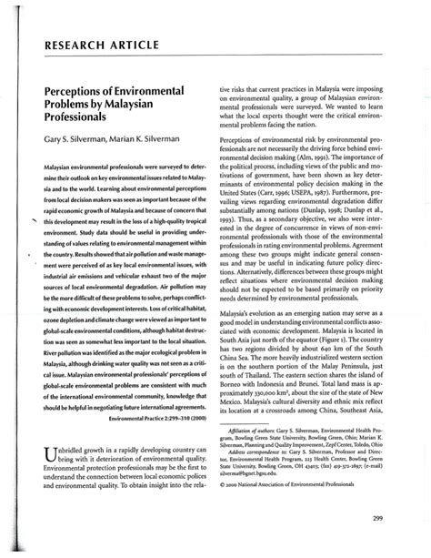 Environmental Problems In Malaysia Essay by Research Article Perceptions Of Environmental Problems By Malaysian Professionals Pdf