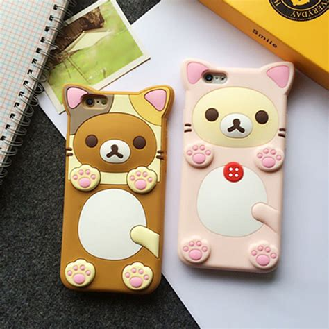 Iphone 7 3d Fashion Model Phone Cover T1910 2 3d rubber rilakkuma relax cover for iphone 6 plus samsung s7 edge ebay