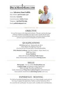Deckhand Resume by Curriculum Vitae Help Objective