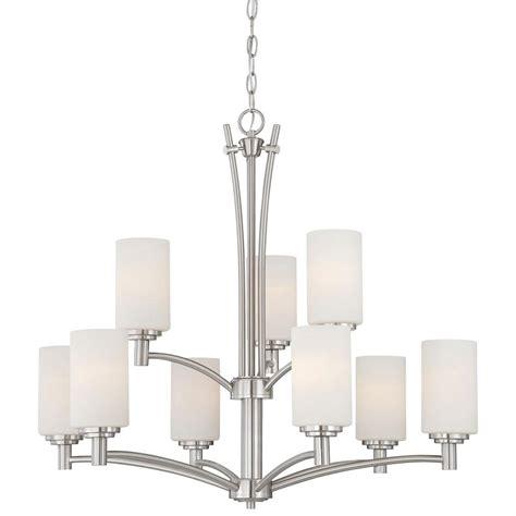 brushed nickel chandeliers lighting pittman 9 light brushed nickel hanging