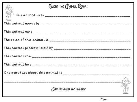 Animal Book Report Template Grade Buddies Animal Reports Literacy