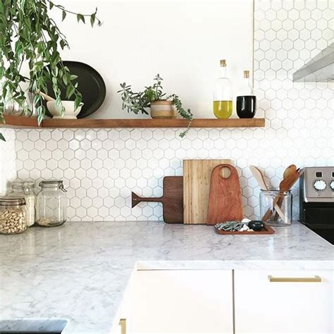 small tile backsplash in kitchen 36 eye catchy hexagon tile ideas for kitchens digsdigs