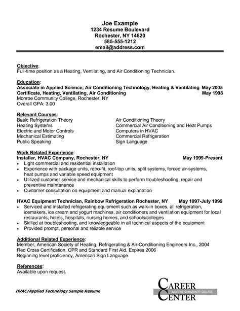 hvac resume objective sles hvac installer resume sle resumes design