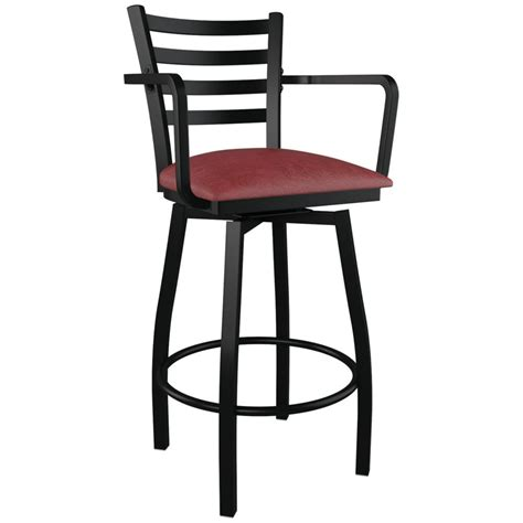 bar stools with back and arms that swivel swivel ladder back metal bar stool with arms sc 1 st