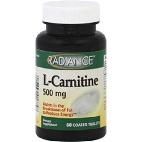 h 500 supplement radiance l carnitine 500 mg dietary supplement 60 coated