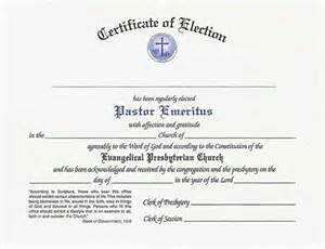 certificate of election for pastor emeritus epc resources