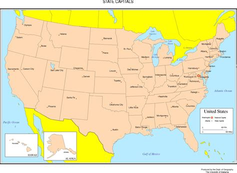 map of united states showing state capitals united states colored map