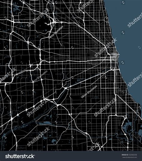 chicago map black and white black white map chicago city illinois stock vector