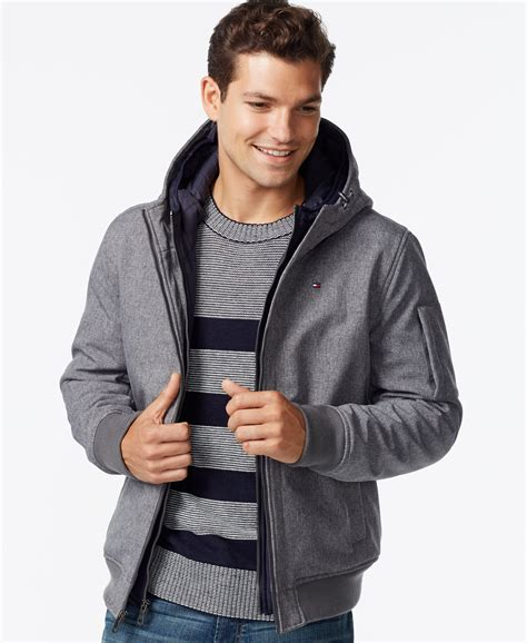 Jaker Hoodie Outerwear Jaket Bomber Hoodie hilfiger soft shell bomber hooded jacket in gray for
