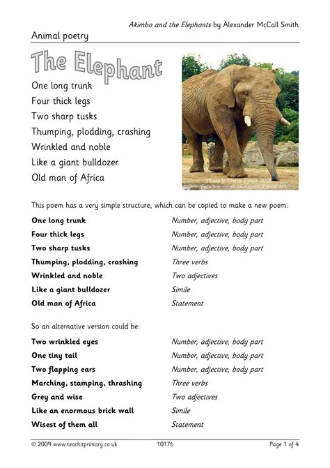 The Elephant Poem Worksheet Answers by Ks2 Poetry Resources Search Results Teachit Primary
