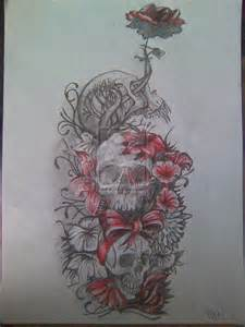 Sugar skull girl and flower tattoos sketch real photo pictures