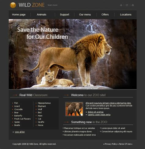 Lion Xhtml Template 3516 Animals Pets Website Templates Dreamtemplate Animal Website Templates