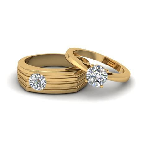 Solitaire Diamond Matching Wedding Anniversary Rings For