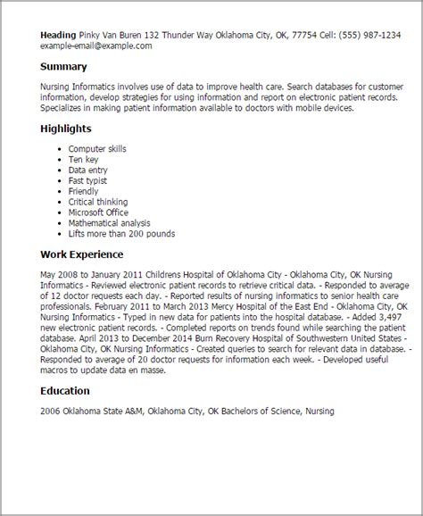 Nursing Informatics Specialist Sle Resume by Professional Nursing Informatics Templates To Showcase Your Talent Myperfectresume