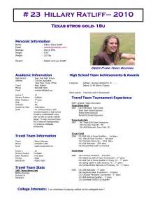 Softball Player Profile Template by Best Photos Of High School Profile Sheet Student