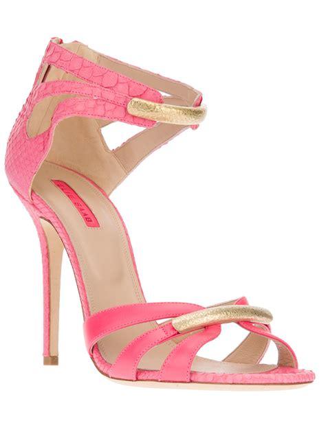 pink sandal heels lyst elie saab strappy sandal in pink
