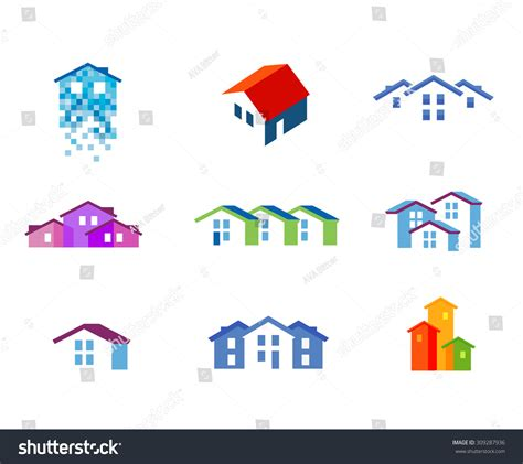 house logo design vector house vector logo design template town stock vector 309287936