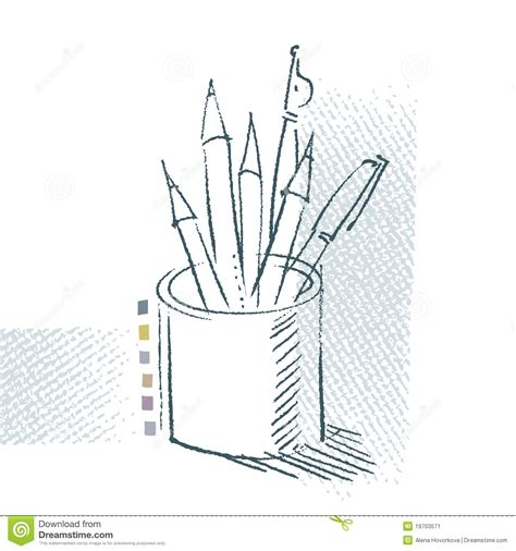 draw a pencil pen and pencils freehand drawing stock vector image
