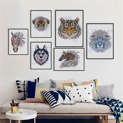 home decor nation ancient african national animals head deer lion art prints