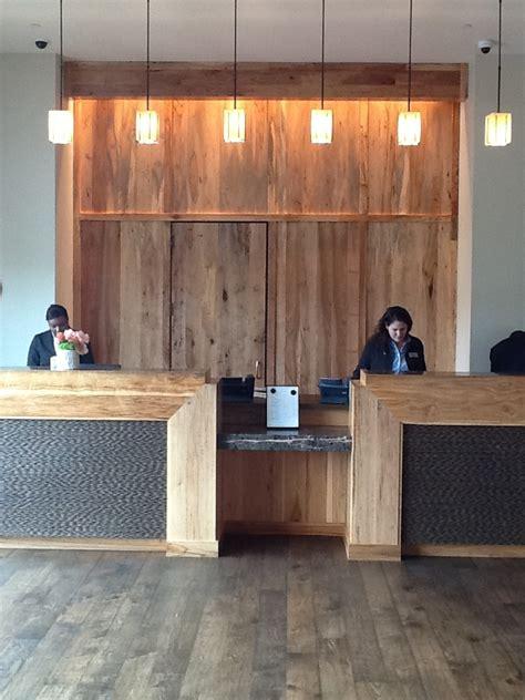 reclaimed wood front desk 16 best images about salon design on pinterest