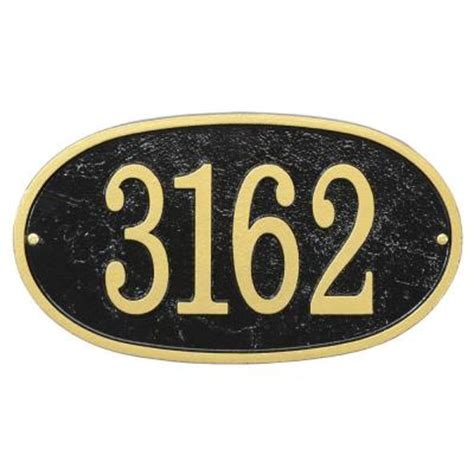 open house signs home depot whitehall products fast and easy oval house number plaque black gold 31269 the home