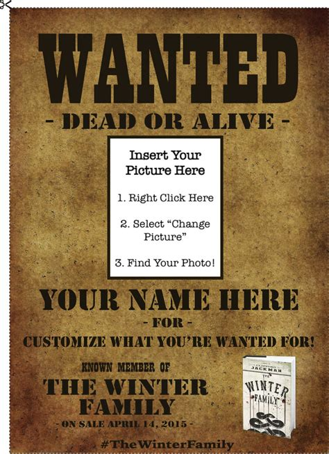 wanted poster template powerpoint the winter family