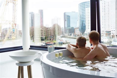 lesbians in restaurant bathroom our gay couple city weekend rotterdam the netherlands