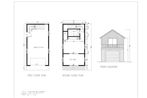 mini coach house floor plan elevation building plans