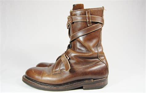 s 11 brown leather combat boots by