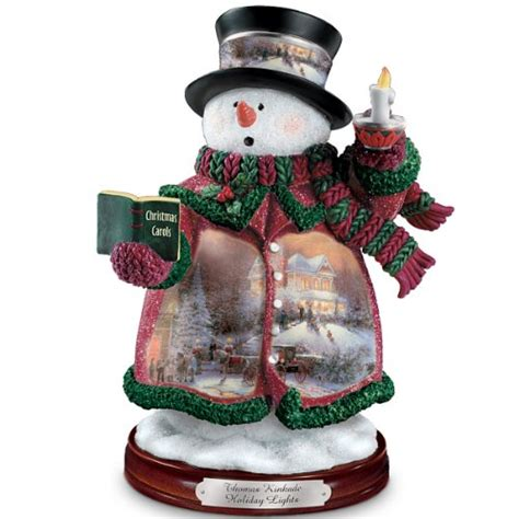 thomas kinkade holiday lights snowman figurine by the