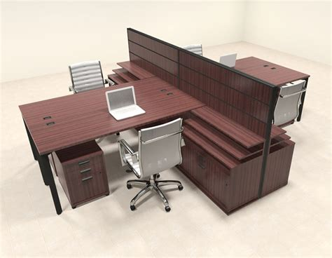 4 person office desk four person modern l shaped workstation office desk set
