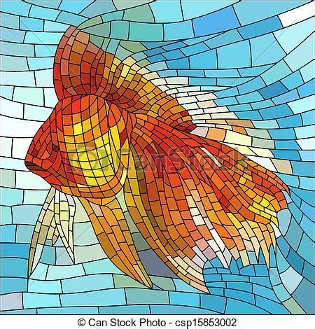 mosaic pattern drawings vector clipart of mosaic illustration of gold fish