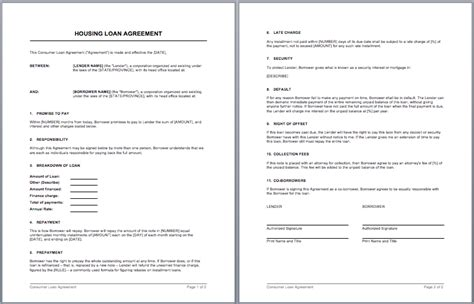 microsoft word loan agreement template housing loan contract template microsoft word templates