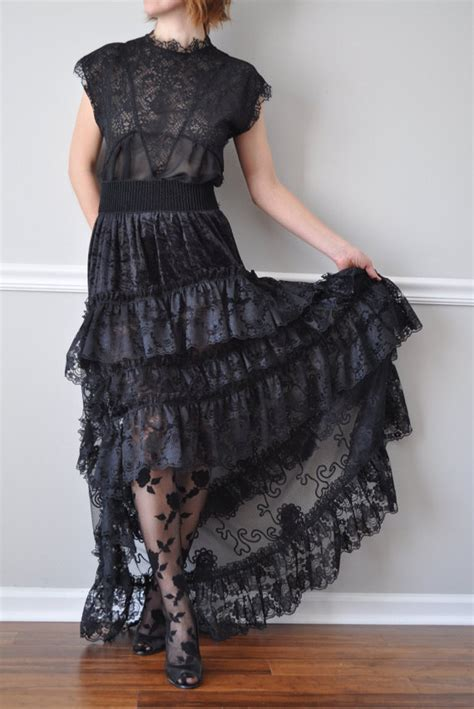 black lace hi low ruffle bustle skirt steunk bohemian
