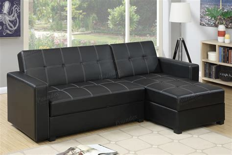 Poundex Amala F7894 Black Leather Sectional Sofa Bed Sectionals Sofa Beds